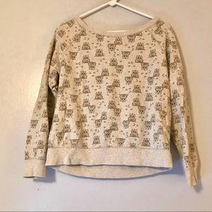 NIGHT OWL PRINT oatmeal sweatshirt size medium